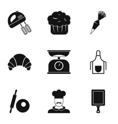 Sweet pastries icons set simple style vector image