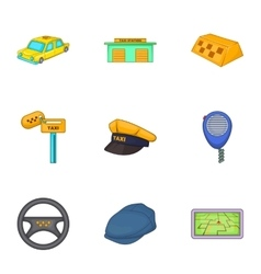 Taxi car icons set cartoon style vector