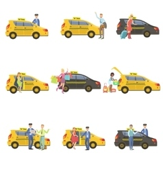 Taxi Drivers And Their Clients Set vector