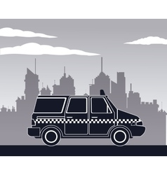 Taxi van car side view town background vector