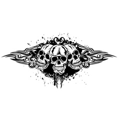 three skulls vector image