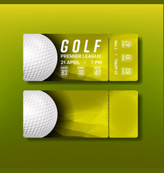 ticket tear-off coupon for golf tournament vector image