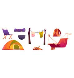 tourist stuff tent chair cauldron and hammock vector image