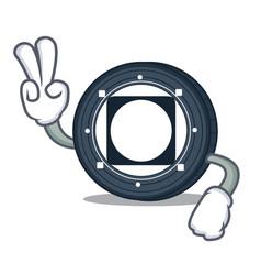 Two finger byteball bytes coin character cartoon vector
