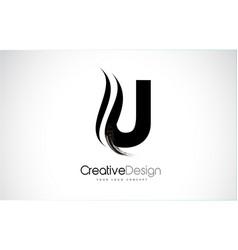 U letter design brush paint stroke vector