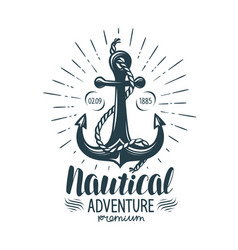 vintage anchor label nautical adventure vector image