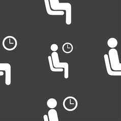 waiting icon sign Seamless pattern on a gray vector image