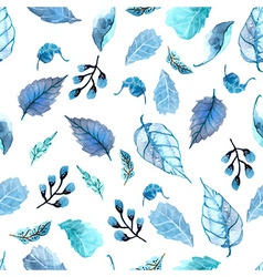 watercolor leaves seamless floral background vector image