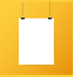 White posters hanging on binder grey wall with vector