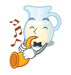 With trumpet milk jug completely filled with vector