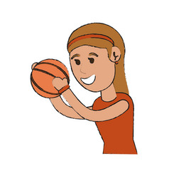 Woman playing basketball sport or fitness related vector