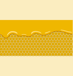 cartoon yellow pattern with honeycomb and sweet vector image vector image