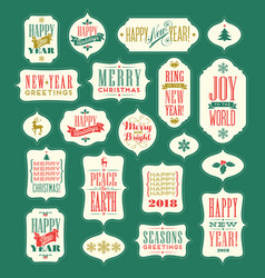 christmas and 2018 new year vintage designs vector image vector image