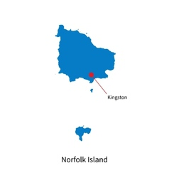 Detailed map of Norfolk Island and capital city vector image vector image