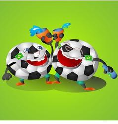Football Cartoon on green background vector image