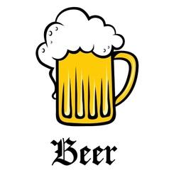 Glass pint tankard of golden frothy beer vector image vector image