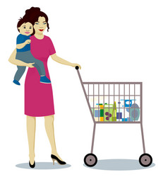 Mother and baby boy with shop trolley isolated vector