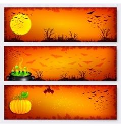 Orange Halloween banners backgrounds set vector image vector image