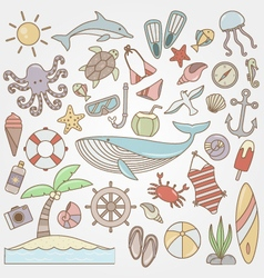 summer fun doodle collection vector image