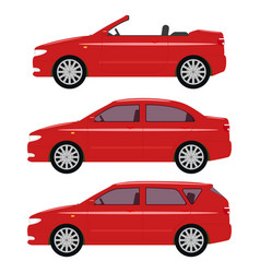 a set of cartoon red cars vector image