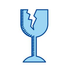 blue contour of fragile packaging symbol broken vector image vector image