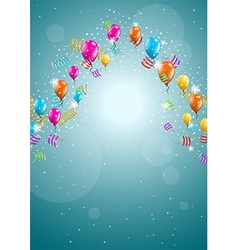 flying balloons on blue background vector image vector image