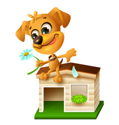 funny yellow puppy sitting on doghouse and tearing vector image vector image