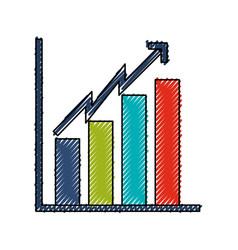 scribble bar chart icon vector image