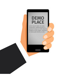 smartphone in hand with transparent background vector image