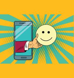 smile joy emoji emoticons in smartphone vector image vector image