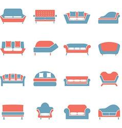 Sofa Icons Duotone vector image vector image