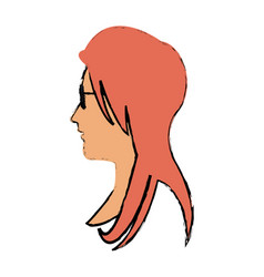 woman profile face glasses and long hair vector image vector image
