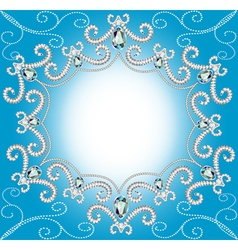 background with ornament with pearls and silver vector image vector image