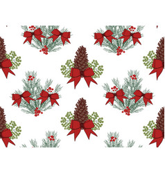 christmas seamless pattern with hand drawn vector image