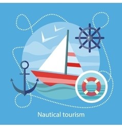 Nautical Tourism Sailing Vessel in Blue Water vector image vector image