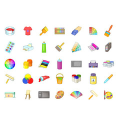 paint icon set cartoon style vector image