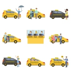 Taxi Cars Drivers And Clients Set vector image vector image