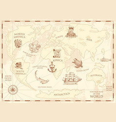 vintage world map with compass and mountains sea vector image