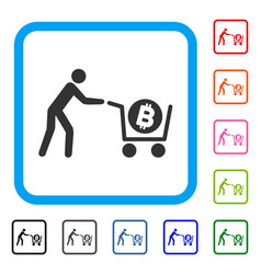 bitcoin purchase cart framed icon vector image vector image