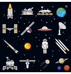 exploring space technology flat icon set vector image vector image