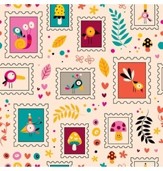 flowers birds mushrooms snails characters nature vector image vector image