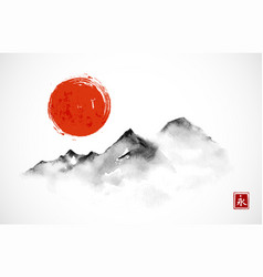 mountains and red sun hand drawn with ink in vector image