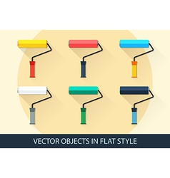 Set of roller in a flat style with shadow vector image
