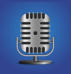Vintage metal studio microphone icon vector
