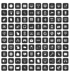 100 internet icons set black vector image
