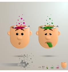 3D set of two brain emotions vector