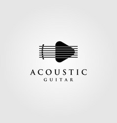 Acoustic guitar logo play button symbol design vector