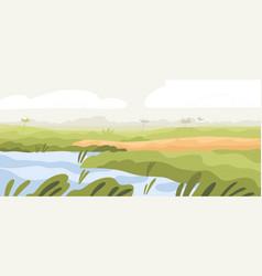 Agriculture rice field landscape asian farm land vector