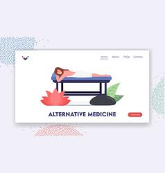 Alternative medicine landing page template female vector
