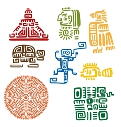 Ancient mayan and aztec totems or signs vector